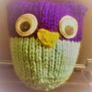 owl puff - scrap yarn knitting project