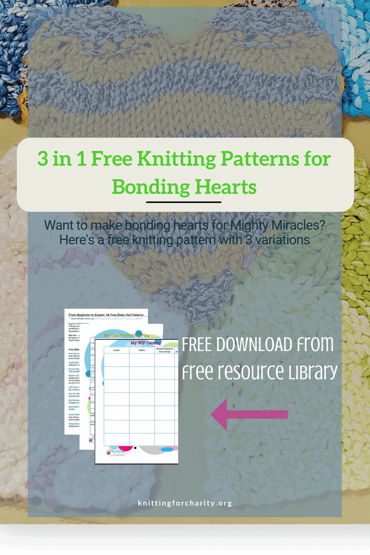 3 In 1 Free Knitting Patterns For Bonding Hearts Knitting For Charity