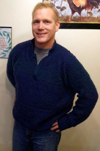 Eric's sweater - from unfinished knitting to finished knitting!